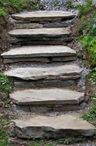 Use Round Logs, Concrete, Bricks or Stones for Garden Steps