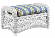 White Wicker Ottoman with Stripe Fabric